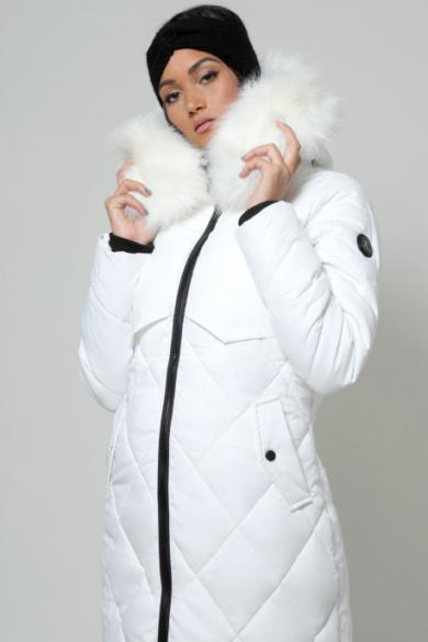 AMNESIA rombusz steppelt szőrmés kapucnis kabát